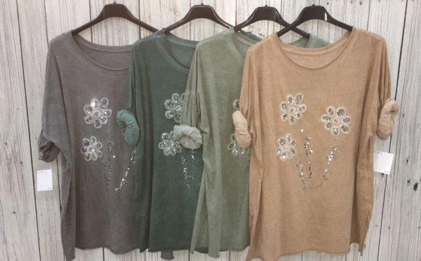 Camiseta flores de lentejuelas