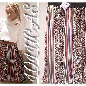 Falda plisada multicolor