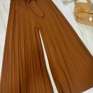 Pantalón midi plisado lazada