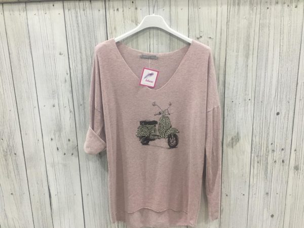 Jersey de lana con motivo vespa print