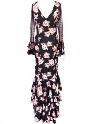 vestido flamenca flores y tull