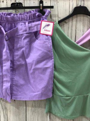 Falda COTTON con cinturilla elástica y lazo